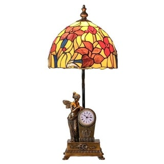 24 Inch Tiffany Style Stained Glass Fairy Blossoms Table Lamp with Clock Base
