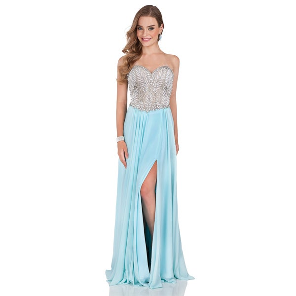 Terani Couture Women's Sweetheart Long Prom Dress