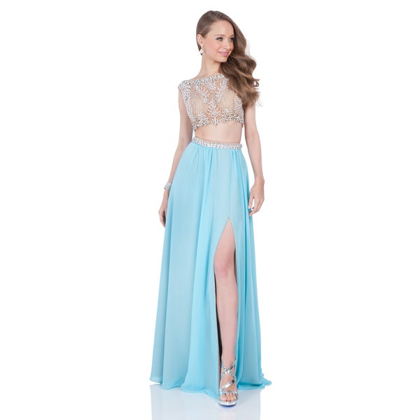 Nude/ Aqua 2-Piece Aqua Crop Top Prom Gown