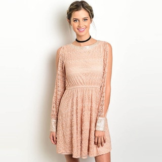 Shop the Trends Women's Long Sleeve Fit and Flare Lace Dress with Sequins on Cuffs