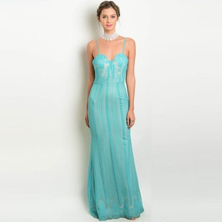 Shop the Trends Women's Spaghetti Strap Gown with Semi-Sweetheart Neckline and Embellished Bodice