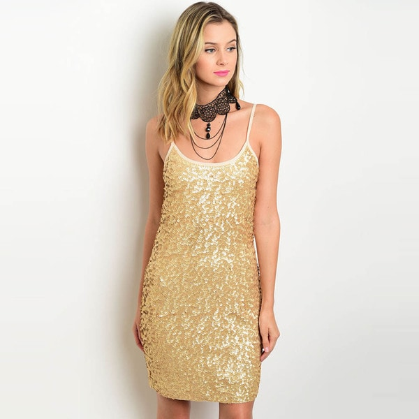 Shop the Trends Women's Spaghetti Strap Sequined Bodycon Dress with Scooped Neckline