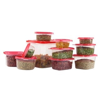 42 Pcs Reusable Plastic Food Storage Containers Set with Air Tight Red Lids