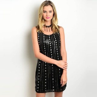 Shop the Trends Women's Sleeveless Sequined Dress with Scoop Neckline and Metallic Details