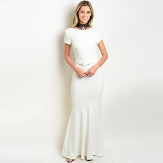 Shop the Trends Women's Short Sleeve Gown with Mermaid Silhouette and Removable Waist Belt
