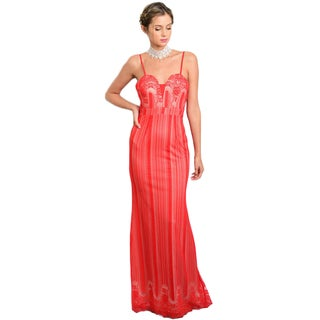 Shop the Trends Women's Spaghetti Strap Gown with Lace Overlay and Sweetheart Neckline
