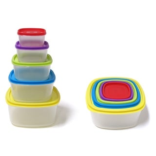 10-piece Always Fresh Plastic Food Storage Containers Set With Color Coded Lids