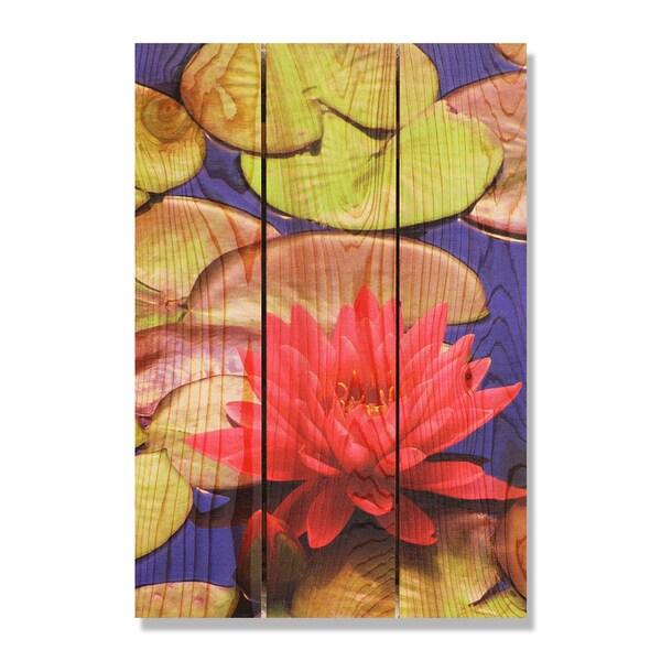 Lotus Blossom 16.5x24 Indoor/ Outdoor Full Color Cedar Wall Art