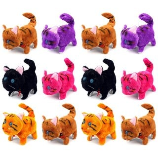 Cool Kitty Walking Toy Plush Play Cat Dolls (Colors May Vary) (Set of 12)