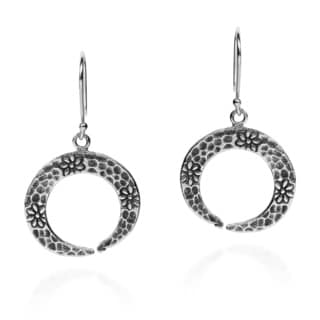 Hammered Hidden Daisy Dangle Hill Tribe Silver Earrings (Thailand)