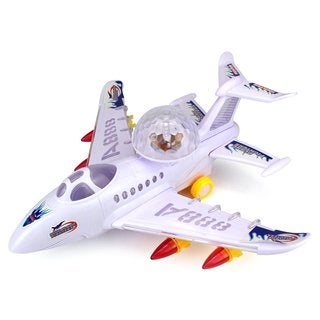 Blue Flame Fighter Jet Battery Operated Bump and Go Toy Plane (Colors May Vary)