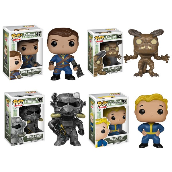 Funko Fallout POP! Games Vinyl Collectors Set of Lone Wanderer Male, Deathclaw, Power Armor and Vault Boy