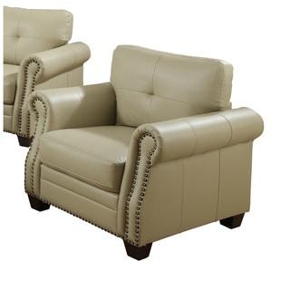 Luna Leather Nailhead Trim Arm Chair