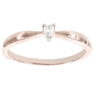 H Star 14k Rose Gold Diamond Accent Heart-shaped Solitaire Promise Ring (H-I, I2-I3)