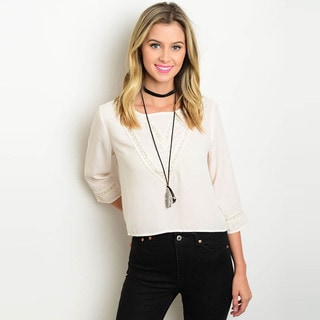 Shop the Trends Women's Lace Detail 3/4 Sleeve Woven Blouse