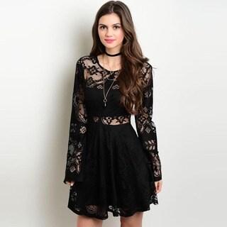 Shop the Trends Women's Black Long Sleeve Cutout Lace Dress