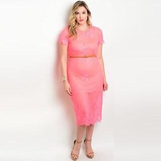 Shop the Trends Women's Plus Size Short Sleeve Lace Midi Dress with Belt