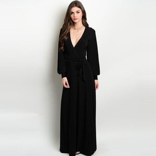 Shop the Trends Women's Long Sleeve Black Maxi Dress