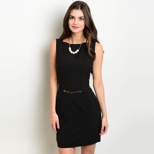 Shop the Trends Women's Sleeveless Black Boat Neck Shift Dress with Removable Belt