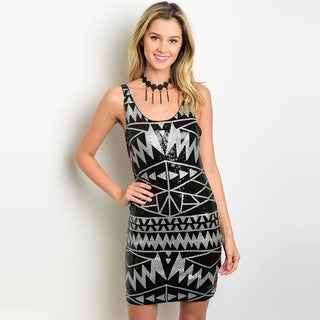 Shop the Trends Women's Sequined Geo Print Sleeveless Bodycon Dress