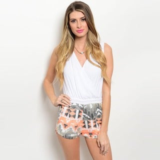Shop the Trends Women's Sleeveless Woven Bodice and Sequined Shorts Romper