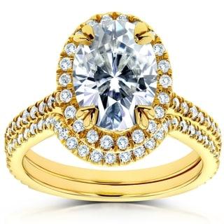 Annello 14k Gold 1 1/2ct Forever Brilliant Oval Moissanite and 1/2ct Diamond Halo 2-piece Bridal Set (G-H, I1-I2)
