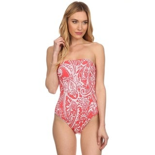 Dippin Daisy's Orange Paisley Strapless One Piece Missy Bathing Suit