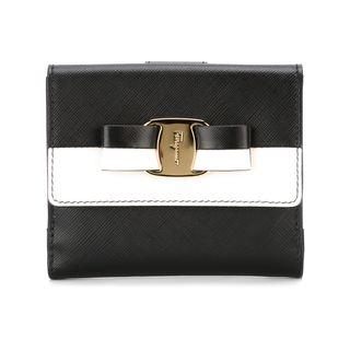 Salvatore Ferragamo Vara Black and White Leather Wallet