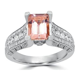 Noori 18k White Gold Morganite 7/8ct TDW Diamond Engagement Ring (G-H, SI1-SI2)