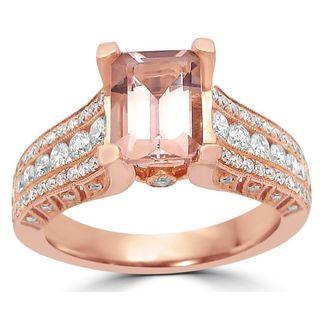 Noori 14k White Gold Morganite 7/8ct TDW Diamond Engagement Ring (G-H, SI1-SI2)
