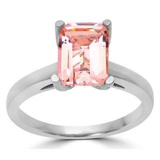 Noori 14k White Gold Morganite and 1/10ct TDW Diamond Engagement Ring (G-H, SI1-SI2)