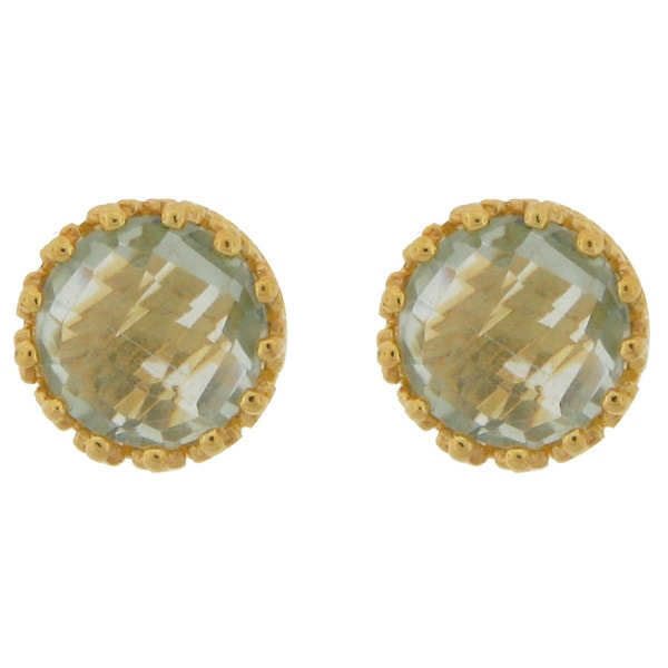 Meredith Leigh Yellow Gold Plate over Silver Green Amethyst Studs