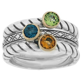 Meredith Leigh 14k Yellow Gold Accented Sterling Silver Stackable Gemstone Ring Set