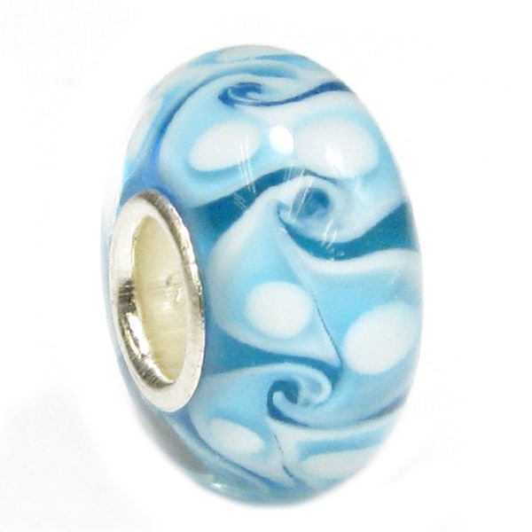 Queenberry Sterling Silver Murano Turquoise Glass European Bead Charm