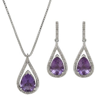 Sterling Silver 1/3ct TDW Diamond and 2ct TGW Amethyst Teardrop Pendant and Earring Set (H-I, I1-I2)