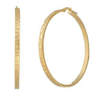 14k Yellow Gold Large Square Tube Hoop Earrings