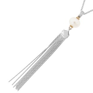 Meredith Leigh 14k Gold and Sterling Silver Pearl Tassel Pendant