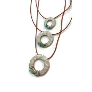 Triple Disc Wire Wrapped Faux Leather Drop Necklace