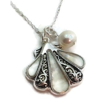 Handmade Mother of Pearl and Sterling Silver Shell Pendant Necklace
