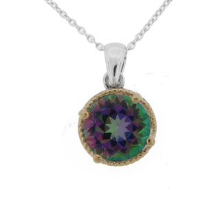 Meredith Leigh 14k Yellow Gold and Sterling Silver Mystic Quartz Pendant
