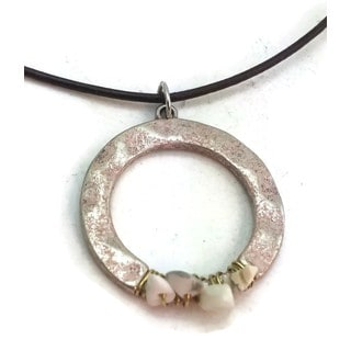 Handmade Wire Wrapped Hammered Disc Necklace