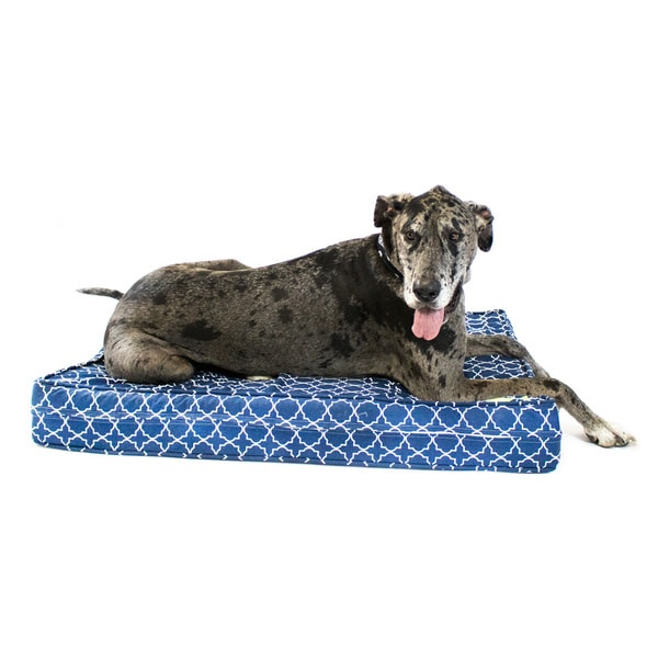 Blue Medallion Gel Memory Foam Orthopedic Dog Bed with Waterproof Encasement