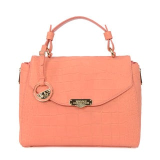 Versace Collection Reptile Embossed Leather Satchel Bag