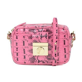 Versace Collection Pink Reptile Embossed Leather Mini Crossbody