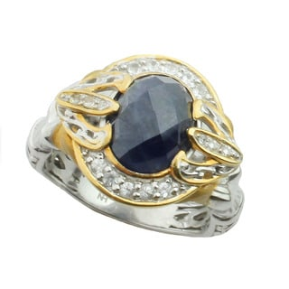 One-of-a-kind Michael Valitutti 18k Yellow Gold Opaque Blue Sapphire/ White Sapphire and Diamond Ring (Size 7)