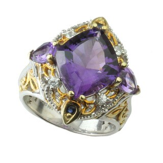 One-of-a-kind Michael Valitutti African Amethyst and Sapphire Ring