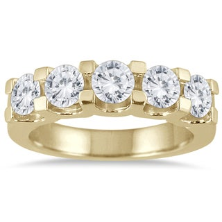 Marquee Jewels 14k Yellow Gold 2ct TDW Prong-set 5-stone Diamond Band (I-J, I2-I3)