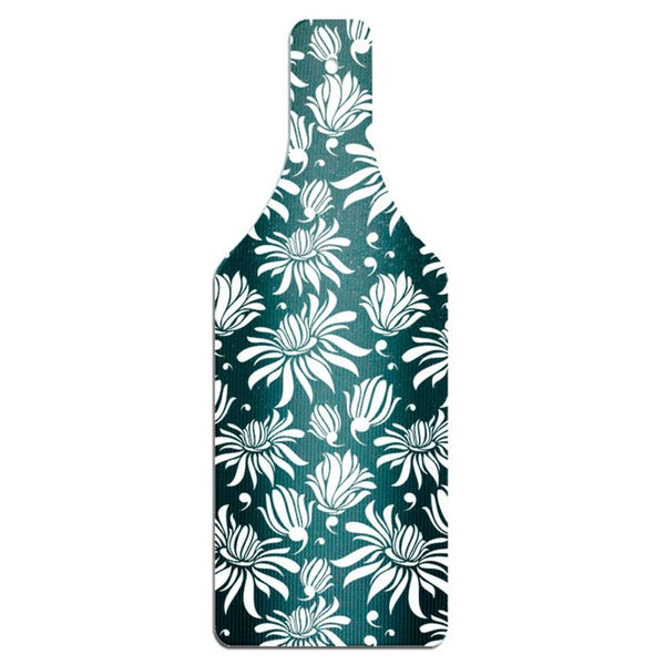 Black Magnolia Bottle Shape Glass Cutting Board