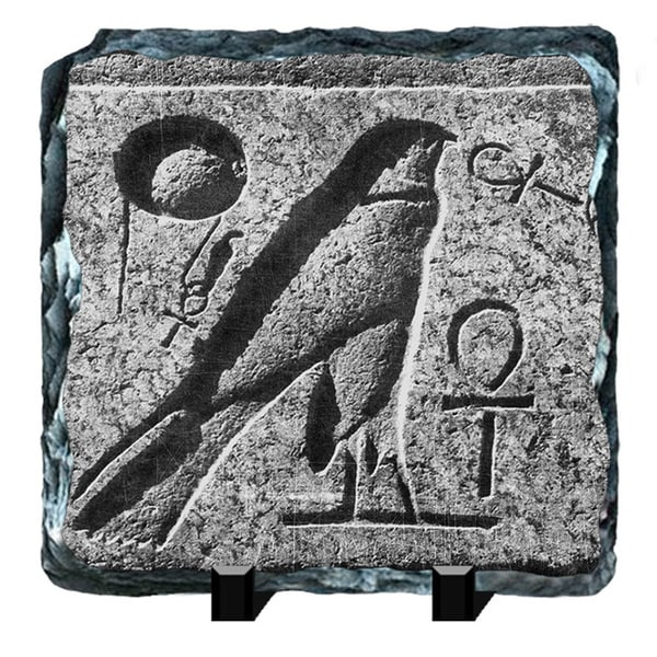 Hawk Bird Egyptian Hieroglyphs Printed on One of a Kind Slate Wall Decor
