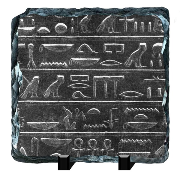Carved Story Egyptian Hieroglyphs Printed on One of a Kind Slate Wall Decor